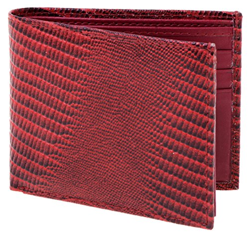Lord West Men's Exotic Bi-Fold Leather Wallets with Flipout ID and Coin Pockets (Lizard Cherry)