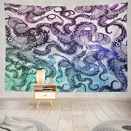 ASOCO Octopus Tapestry, Tapestry Wall Hanging Abstract Octopus Hipster Modern with Polygon Symbol Sign Tattoo Wall Tapestry for Bedroom Living Room Tablecloth Dorm 80