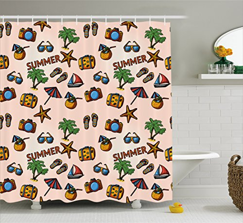 Ambesonne Palm Tree Shower Curtain by, Coconut Cocktail Starfish Slippers Palms Umbrella Yacht Photo Camera, Fabric Bathroom Decor Set with Hooks, 75 Inches Long, Peach Light (Palm Tree Slipper)