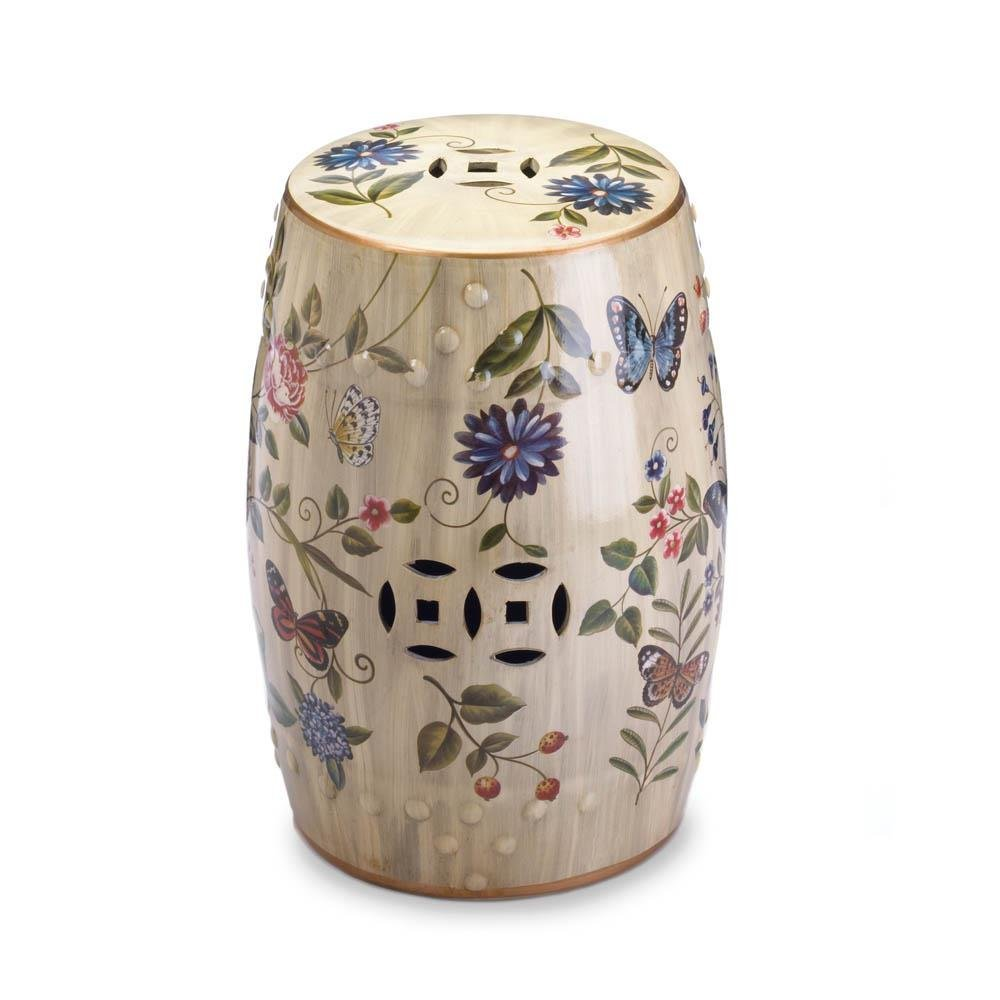 Accent Plus Butterfly Glazed Ceramic Outdoor Stool, Floral Decorative Cream Ceramic Stool