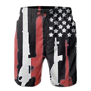 a258379a3c Image Unavailable. Image not available for. Color: YOIGNG Boardshorts  American Flag with Machine Guns Red Men's Quick Dry Swim Trunks Beach Shorts
