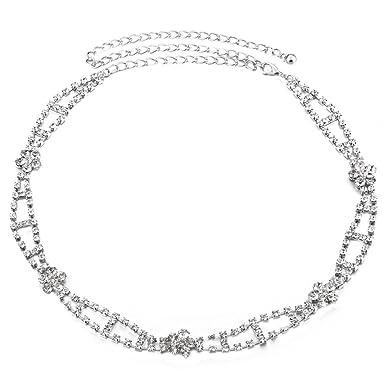 Générique Ceinture Femme Fantaisie Métal, strass Cristal Diamante Brillant  Chaîne Tour de Taille Réglable Argenté 3ca20ac2d17