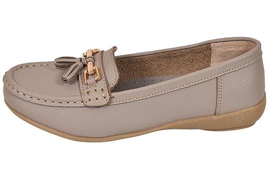 Mocasines de Smart Loafer, para mujer, de piel, estilo náutico, con borla, tallas 36-41: Amazon.es: Zapatos y complementos