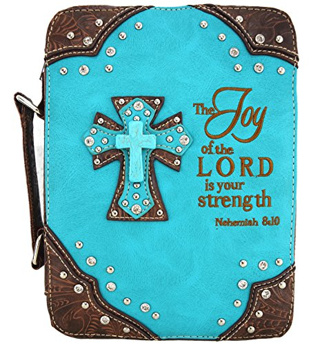 - Western Style Embroidery Scripture Cross Country Women Rhinestone Bible Cover Book Case Crossbody Handbag (Turquoise)