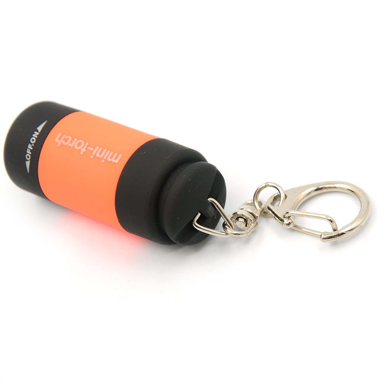 USB recargable linterna impermeable Linda luz portátil Mini antorcha eléctrica bolsillo llavero llavero naranja Gosear