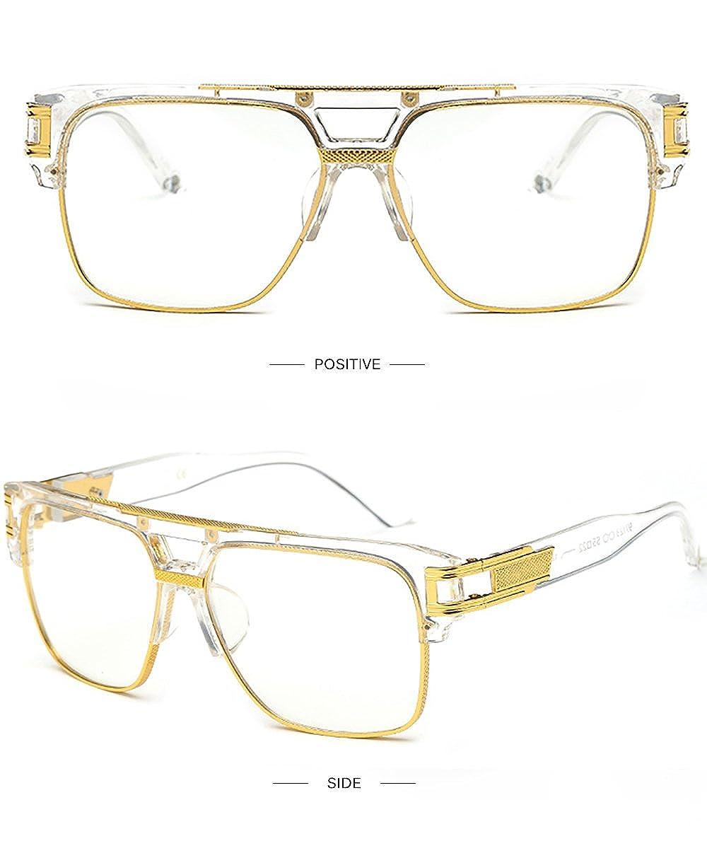 Plaza Gafas de Sol de Moda estilo Aviador Marca Retro  Vintage Baratas para  Mujer y Hombre Marco de metal Azul marrón transparente plata SHEEN KELLY  97123-3 ... 8e1479622d