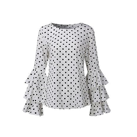 RETUROM Blusa de Invierno, Camisas de Lunares de Mangas Campana de Moda para Mujer: Amazon.es: Ropa y accesorios