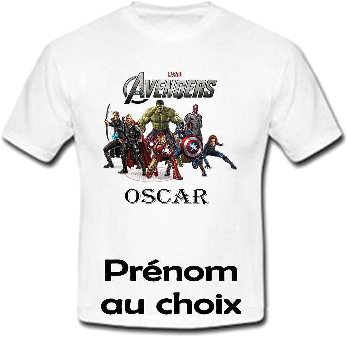 Tshirt personnalis/é Avengers Marvel pr/énom et Taille au Choix GRAVOPHOTO