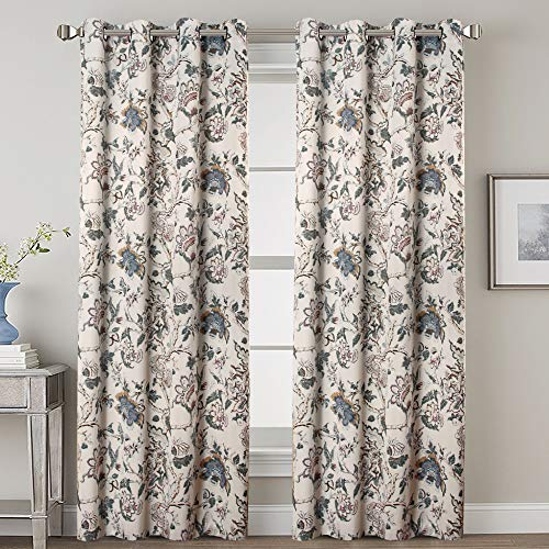 H.VERSAILTEX Extra Long Curtains Thermal Insulated Grommet Room Darkening Curtains/Drapes for Bedroom Living Room 108 inch Length, Floral in Sage and - Sage Toile Green