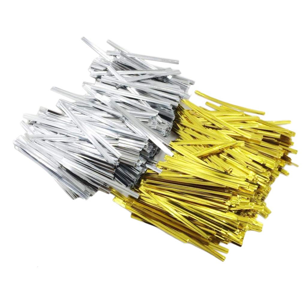 B Baosity 1600 Pcs Metallic Twist Ties for Clear Flat Cello Cellophane Treat Bags Good, Bakery, Cookies, Candies,Dessert - 6cm