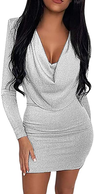 Amygline Femme Robe Paillette Mode Slim Sexy Moulantes Col En V Robe A Manches Longues Mini Robes De Soiree Femme Robe Elegante Amazon Fr Vetements Et Accessoires