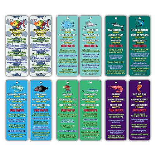 Creanoso Fun Facts About Fish Bookmarks (60-Pack) - Nature and Sea Learning Pack - Excellent Party Favors Teacher Classroom Reading Rewards and Incentive Gifts for Young Readers
