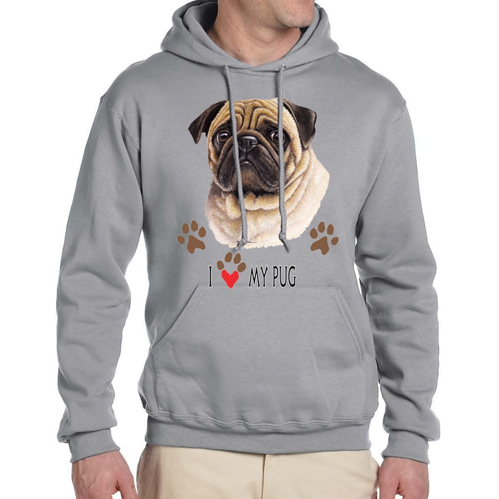 Empire Tees Adults I Love My Pug Dog Hoodie