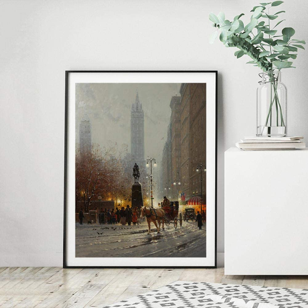 Luckyjun Pigeons Corner New York City G Harvey Canvas Prints Picture Modular Paintings For Living Room Poster On The Wall Home Decor 18X24 Inch