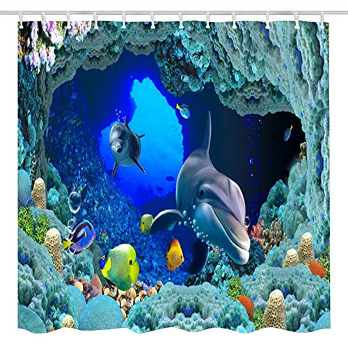 BROSHAN Sea Dolphin Shower Curtain Set,Ocean Animal Fish Coral Reefs Decor Fabric Bathroom Curtain,Polyester Waterproof Bath Accessories with Hooks,72x72 Inch,Blue,Teal,Turquoise,Aqua