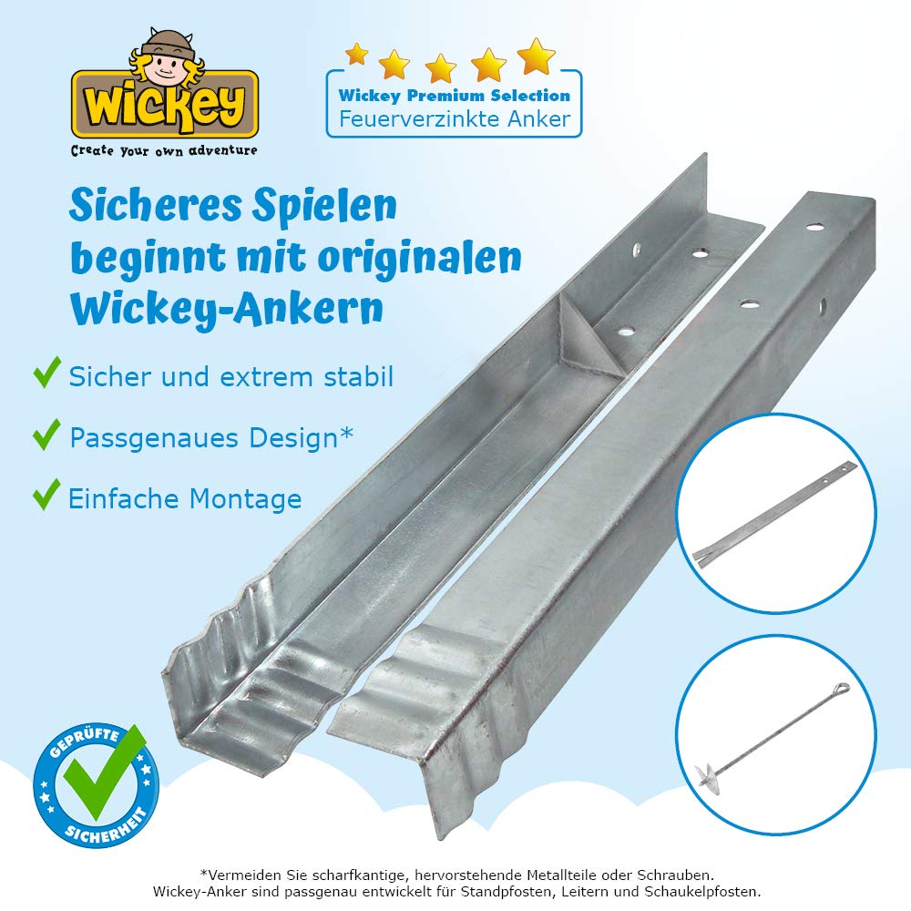 galvanizado WICKEY Anclaje en /ángulo el juego 12 piezas para el parque infantil y el columpio 500 x 45 x 45mm