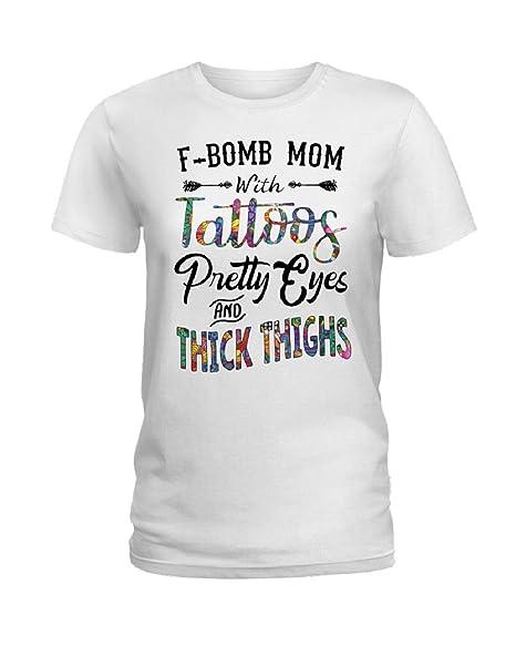 Amazon.com: Camiseta para mujer F-Bom Mom con Tattoos Pretty ...
