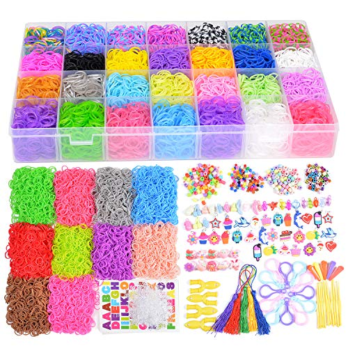 18700+ Rainbow Rubber Bands Refill Kits, 17760+ Loom Bands in 38 Colors, 600 Clips, 230 Beads, 56 ABC Beads, 54 Charms, 12 Backpack Hooks, 10 Crochet Hooks, 10 Rings, 5 Hair Clips, 5 Tassels.....]()