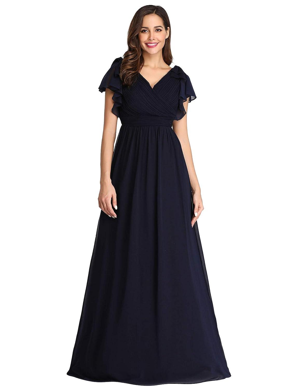 Ever-Pretty Vestito da Festa Donna Chiffon Linea ad a Scollo V Manica Corta Lungo EZ07709