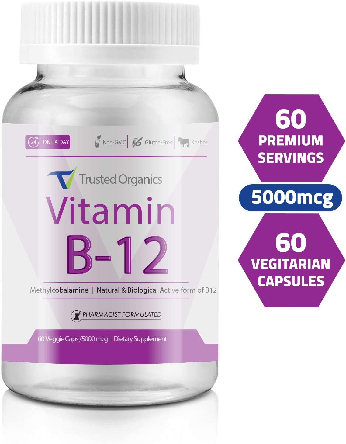 Trusted Organics Vitamin B12 methyl (Methyl Cobalamin) Most Bioactive Form 5000 mcg