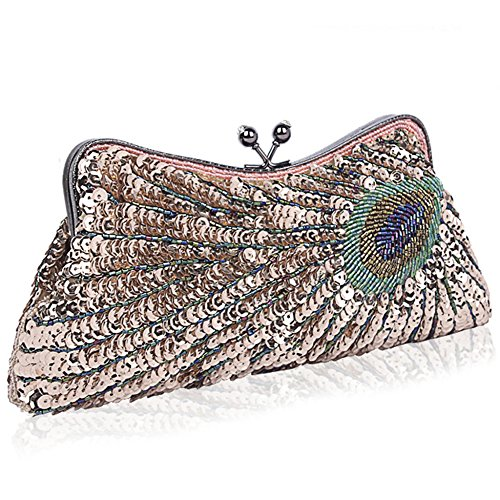 For Beads Prom Peacock Sequins Bags Bags Clutches Pouch Crossbodybag Occasions Clutch Shoulder Wedding Mom Champagne Fiancee Evening Women's vxdBIOqv