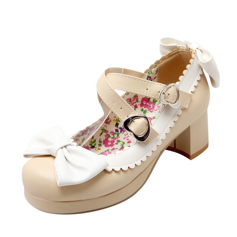 YE Damen Mary Jane Rockabilly Pumps Blockabsatz High Heels Plateau Geschlossen mit Riemchen und Schleife Elegant Schuhe  35 EU|Beige