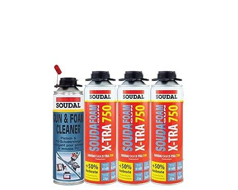 Soudal Vajilla (3 x Souda Foam B2 X de tra750 500 ml Pistola de espuma