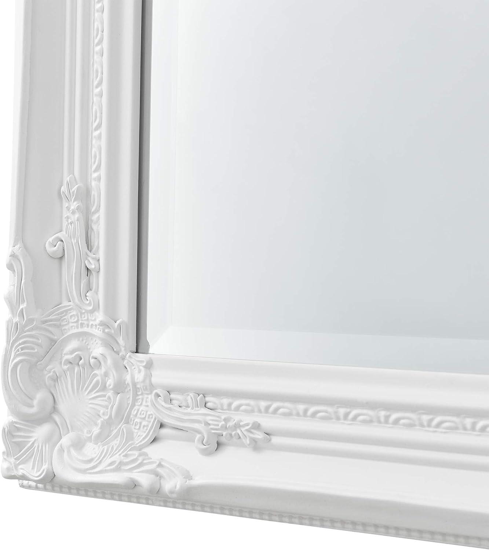 Miroir Mural de Grande Taille pour Se Voir en Entier Cadre Style Baroque Montage Vertical ou Horizontal Eucalyptus 132 x 42 x 3,5 cm Noir