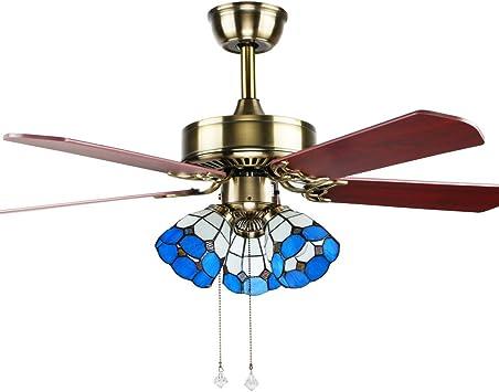 akronfire Classic Retro ventilador de techo luz con Tiffany tulipa ...