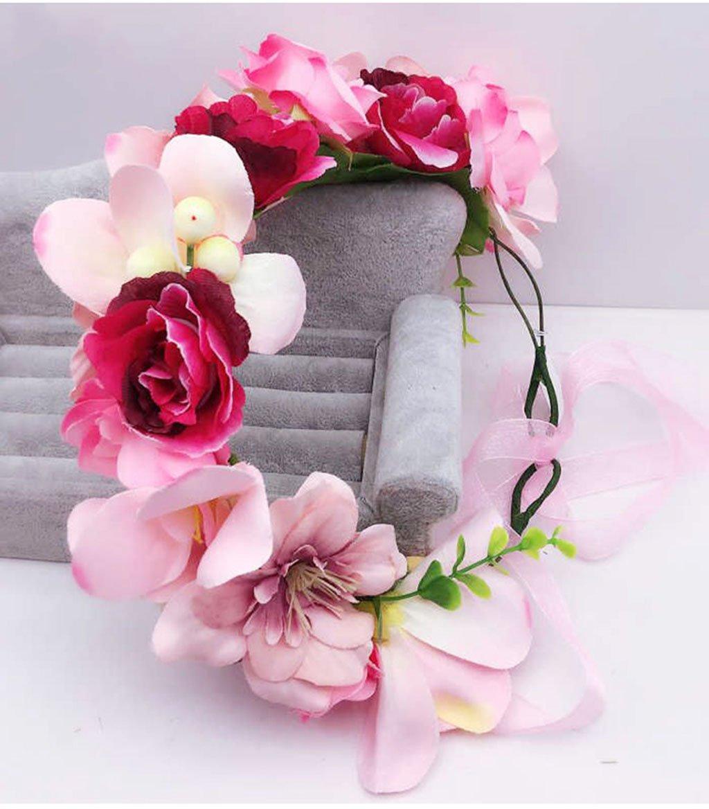 Wreath Flower, Headband Flower Garland Handmade Wedding Bride Party Ribbon Headband Wristband Hairband (Color : C)