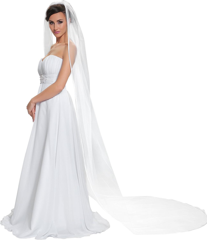 "Satin Edge Ivory Wedding Prom Bridal Chapel Veil With Comb 100/"" New 1T White"