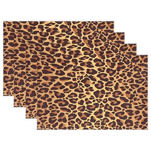 WOZO Bright Leopard Print Placemat Table Mat, Animal Fur 12