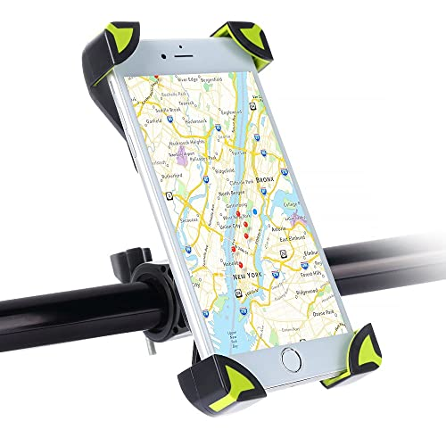 SKYEE Bike Phone Holder Four Corners Fixed Safe, Universal Mountain and Road Bike Mount Bicycle Holder Cradle with 360 Degree Rotate for iPhone X/8/8 Plus, Smartphone (Green/Black)