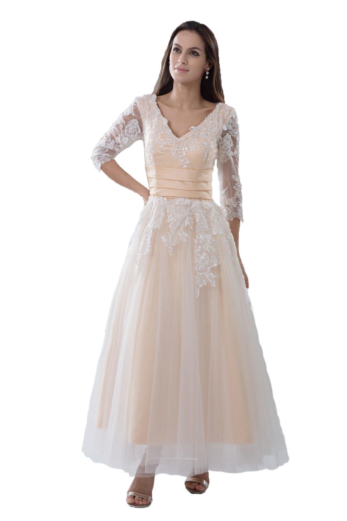 Snowskite Women's A-line V-neck Ankle Length Beach Wedding Bridal Gowns White&Champagne 20