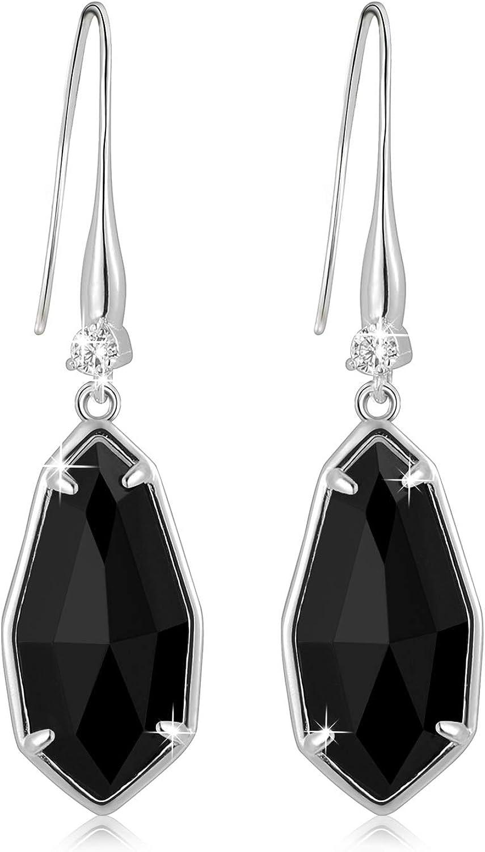 Alantyer - Pendientes de gota de ónice negro natural con piedras preciosas para mujeres y niñas, sin alérgenos, aprobado por la inspección SGS