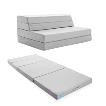 LUCID 4 Inch Folding Mattress And Sofa With Removable Indoor/Outdoor Fabric  Cover   Queen