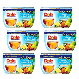 DOLE FRUIT BOWLS No Sugar Added Cherry Mixed Fruit, 4 Cups (6 Pack)