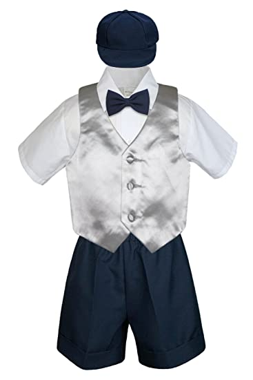 ad0148807f89 Amazon.com: Leadertux 5pc Formal Baby Toddler Boy Silver Vest Navy ...