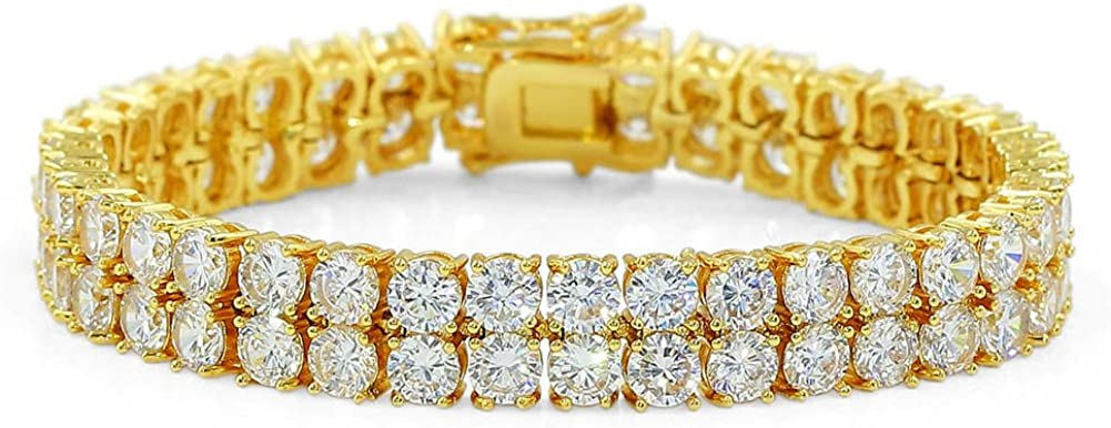 JINAO 2 Rows AAA Cubic Zirconia Iced Out Tennis Bling Lab Simulated Diamond Bracelet