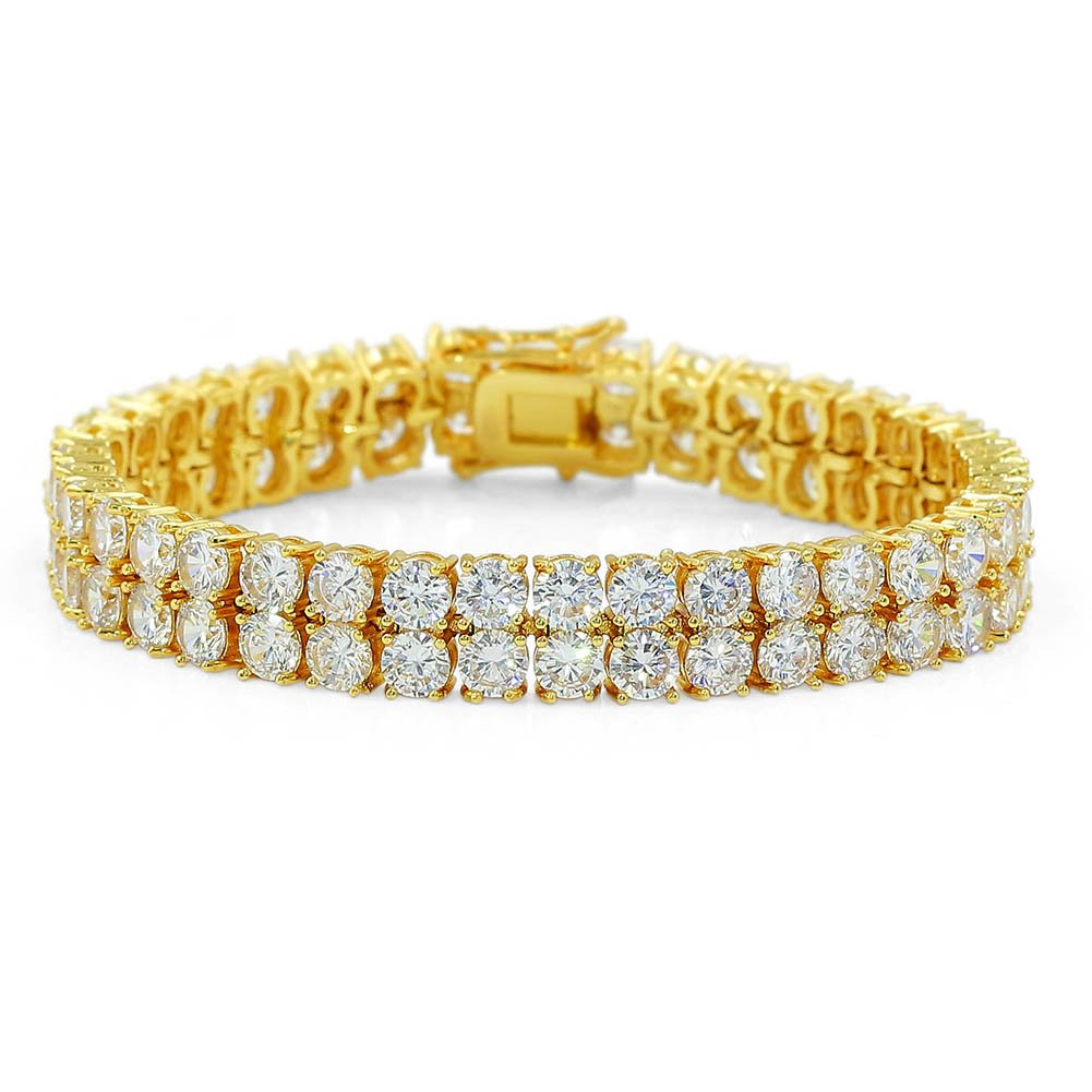 "JINAO 2 Rows AAA Gold Silver Iced Out Tennis Bling Lab Simulated Diamond Bracelet 8"" (Gold) by JINAO (Image #1)"