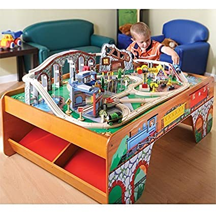 CP Toys Wooden Train Table with 100 pc. Track and Accessories Set  sc 1 st  Amazon.com & Amazon.com: CP Toys Wooden Train Table with 100 pc. Track and ...