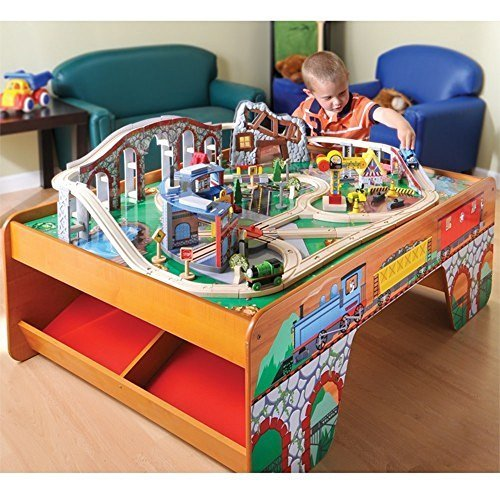 Constructive Playthings Wooden Train Toy Table with Track and Accessories Set