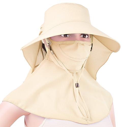 Vbiger Sombrero Safari Viseras Pamela para Mujer con Borde Ancho Plegable