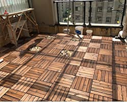 mudiban Suelo de madera terraza al aire libre jardín terraza anti-corrosión patrón de madera maciza piso de madera maciza hecho a mano piso cuadrado balcón interior baño de madera antideslizante piso: Amazon.es: