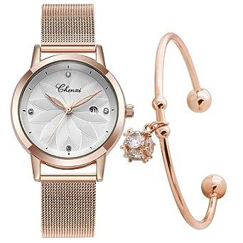 e4596c57ed 腕時計 レディース 30M防水 日付 シンプルなビジネス風 ステンレス製ブレスレット メッシュストラップ (ゴールド