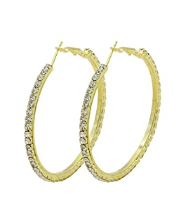 Amesii Women's 1 Pair Fashion Crystal Earrings Rhinestone Hoop Circle Dangle Jewelry - Golden 8cm