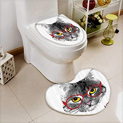 Incredible Amazon Com Vanfan Lid Toilet Cover Wise Nerd Cat With Evergreenethics Interior Chair Design Evergreenethicsorg
