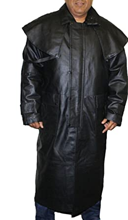 5961e443d62 Mens Black Genuine Leather Trench Coat Full Length Duster Lined~ Snap  Closure_L