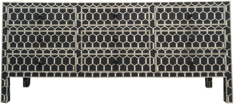 Modern Decor Ideas - Bone Inlay Furniture : Black Dresser Chest of Drawers Geometric Pattern