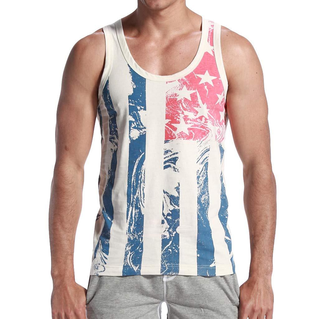 Camiseta sin Mangas para Hombre Moda Estampado Fitness Entrenamiento Cuello Redondo Gym Cartas Deportivo Tops de Tirantes Cómodo Transpirables Camisa de Hombre MMUJERY